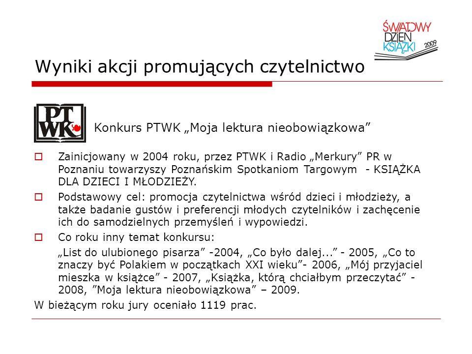 Wyniki akcji promujących czytelnictwo Konkurs PTWK Moja lektura nieobowiązkowa Zainicjowany w 2004 roku, przez PTWK i Radio Merkury PR w Poznaniu towa