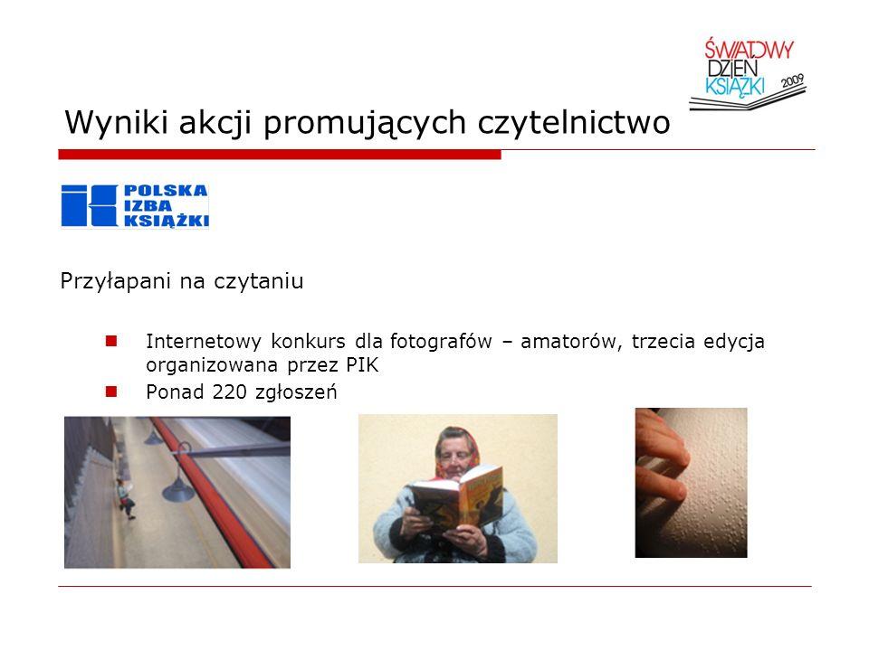 Wyniki badań nad stanem czytelnictwa Biblioteki publiczne w Polsce-2007 8.489 bibliotek publicznych, w tym 2.625 bibliotek głównych oraz 5.864 filii bibliotecznych, 1.618 punktów bibliotecznych, 17688 bibliotekarzy, w bibliotekach zarejestrowany był co szósty mieszkaniec Polski (17,6%), co piąty mieszkaniec miasta (21,2%) oraz co ósmy wsi (12%), ok.