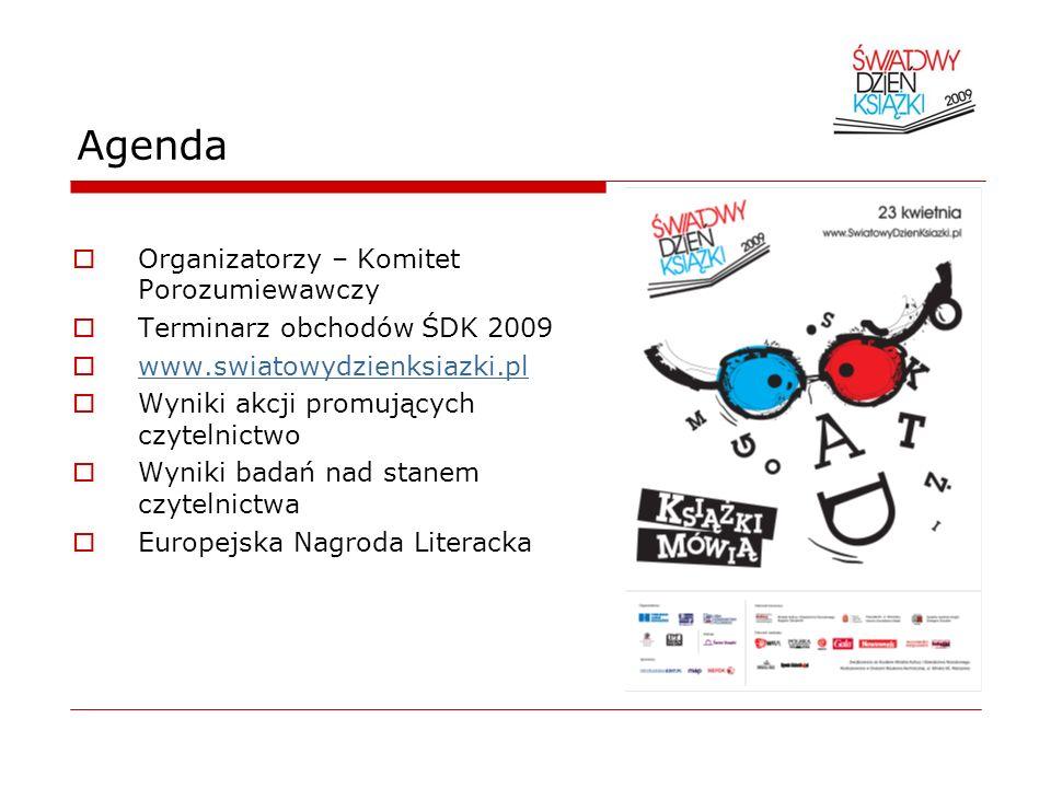 Agenda Organizatorzy – Komitet Porozumiewawczy Terminarz obchodów ŚDK 2009 www.swiatowydzienksiazki.pl Wyniki akcji promujących czytelnictwo Wyniki ba