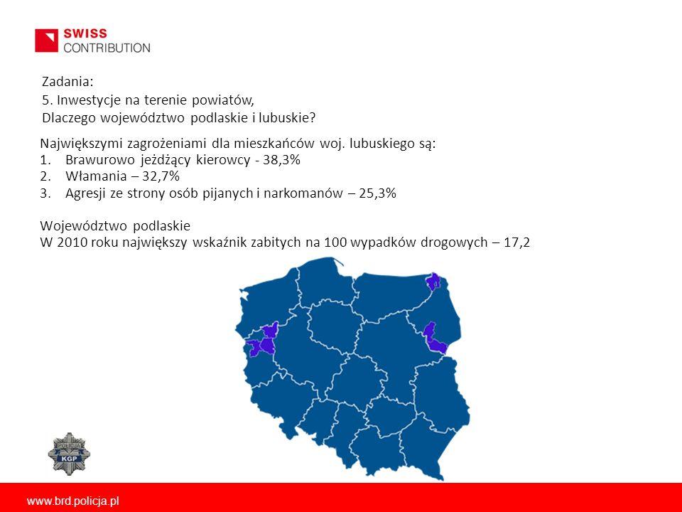 Zadania: 5. Inwestycje na terenie powiatów, Dlaczego województwo podlaskie i lubuskie? Największymi zagrożeniami dla mieszkańców woj. lubuskiego są: 1