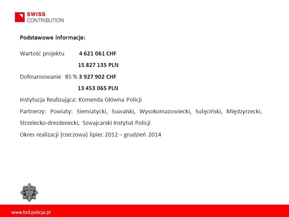www.brd.policja.pl Wartość projektu 4 621 061 CHF 15 827 135 PLN Dofinansowanie 85 % 3 927 902 CHF 13 453 065 PLN Instytucja Realizująca: Komenda Głów