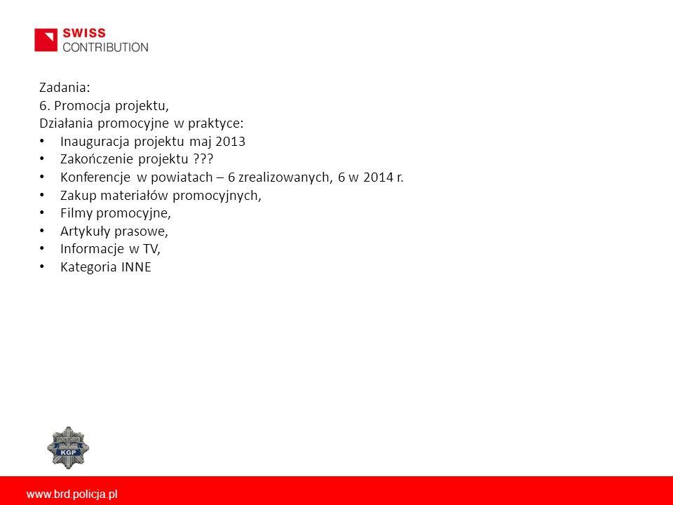 www.brd.policja.pl Zadania: 6. Promocja projektu, Działania promocyjne w praktyce: Inauguracja projektu maj 2013 Zakończenie projektu ??? Konferencje