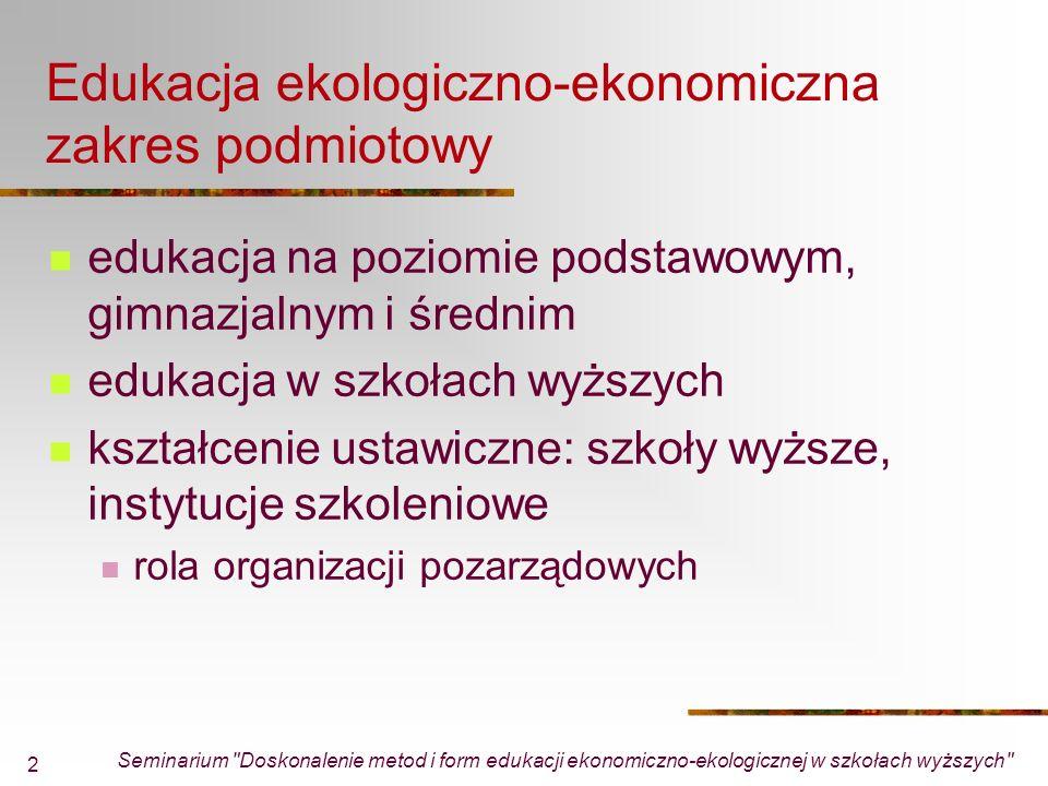 Seminarium Doskonalenie metod i form edukacji ekonomiczno-ekologicznej w szkołach wyższych 13 PO Infrastruktura i Środowisko Priorytet V: Ochrona przyrody i kształtowanie postaw ekologicznych kształtowanie postaw społecznych sprzyjających ochronie środowiska, ochronie przyrody, a także zachowań proekologicznych ogólnopolskie lub ponadregionalne projekty szkoleniowe lub programy aktywnej edukacji dla wybranych grup społecznych i zawodowych mające na celu podnoszenie kwalifikacji i kształtowanie świadomości w zakresie zrównoważonego rozwoju,