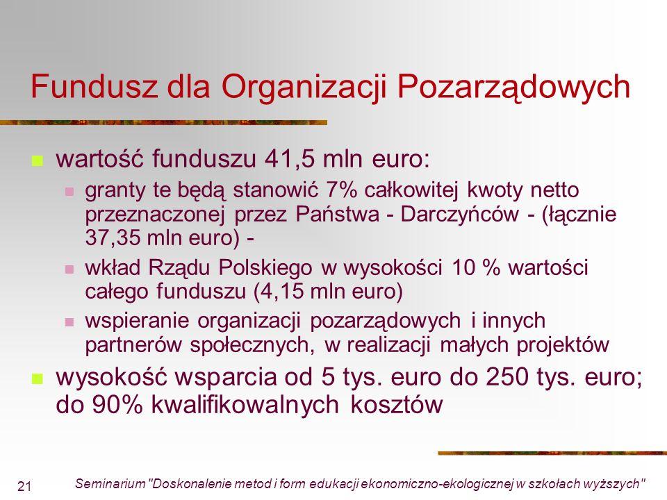 Seminarium Doskonalenie metod i form edukacji ekonomiczno-ekologicznej w szkołach wyższych 21 Fundusz dla Organizacji Pozarządowych wartość funduszu 41,5 mln euro: granty te będą stanowić 7% całkowitej kwoty netto przeznaczonej przez Państwa - Darczyńców (łącznie 37,35 mln euro) wkład Rządu Polskiego w wysokości 10 % wartości całego funduszu (4,15 mln euro) wspieranie organizacji pozarządowych i innych partnerów społecznych, w realizacji małych projektów wysokość wsparcia od 5 tys.