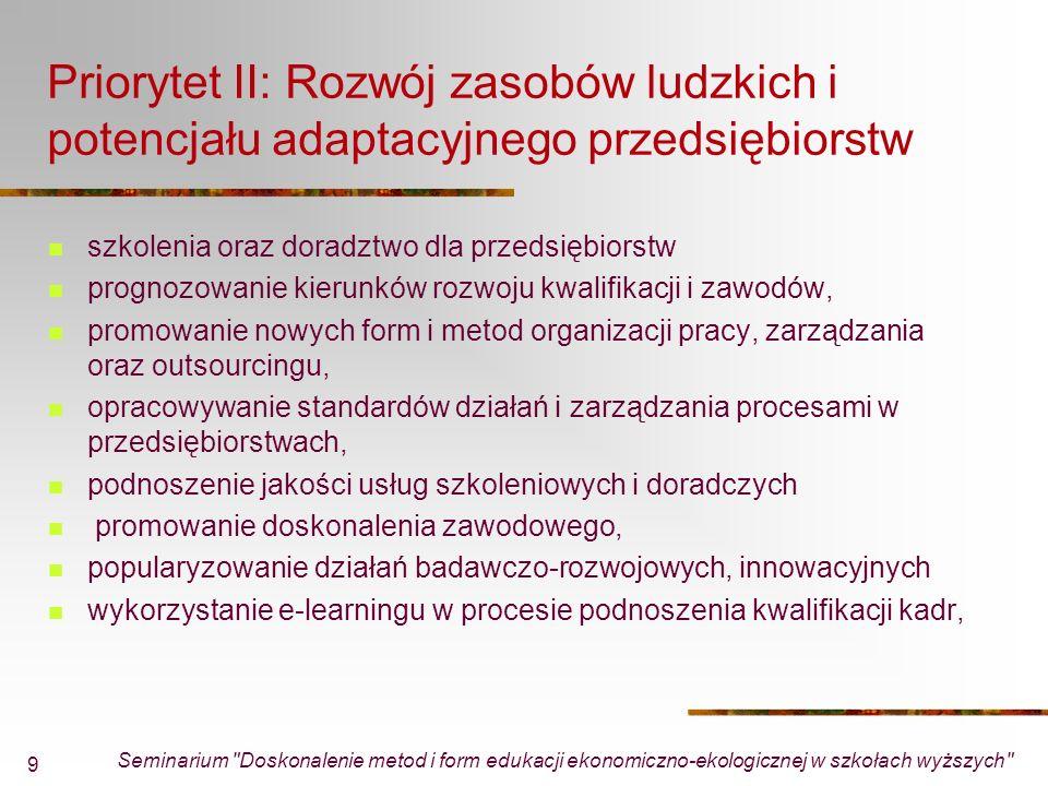 Seminarium Doskonalenie metod i form edukacji ekonomiczno-ekologicznej w szkołach wyższych 10 Dostępne środki w priorytecie II (Rozwój zasobów ludzkich i potencjału adaptacyjnego przedsiębiorstw) Ogółem alokacja - 672 298 726 euro EFS - 571 453 918 euro Środki krajowe -100 844 808 euro