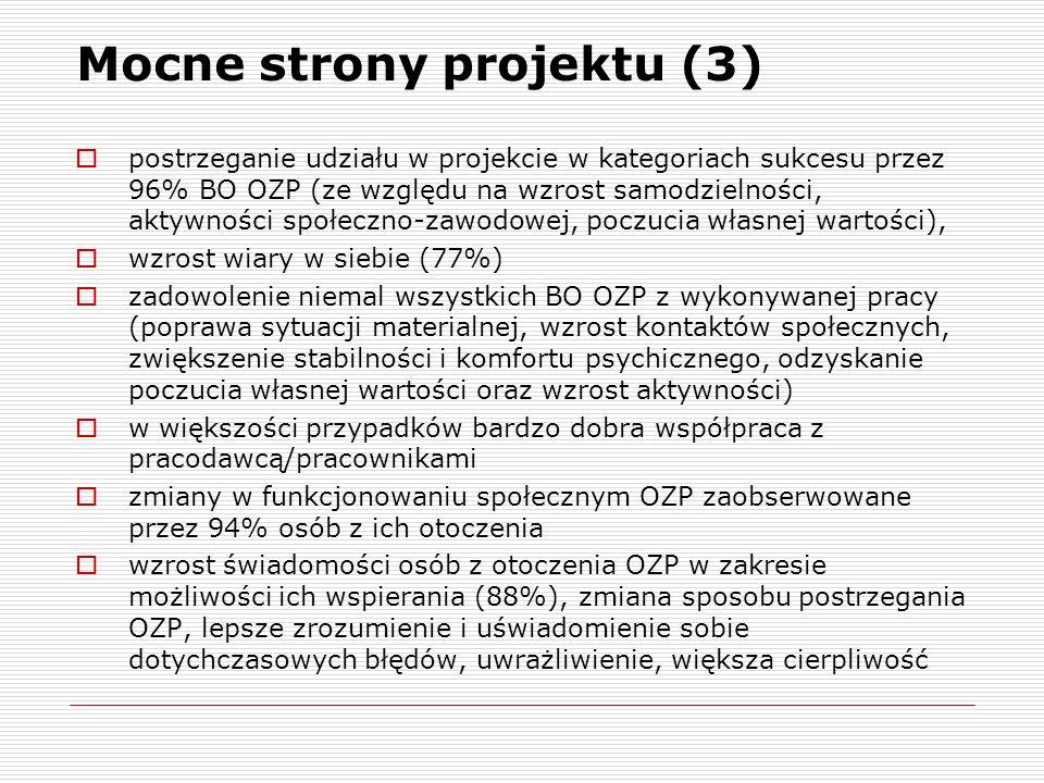 Mocne strony projektu (3) postrzeganie udziału w projekcie w kategoriach sukcesu przez 96% BO OZP (ze względu na wzrost samodzielności, aktywności spo