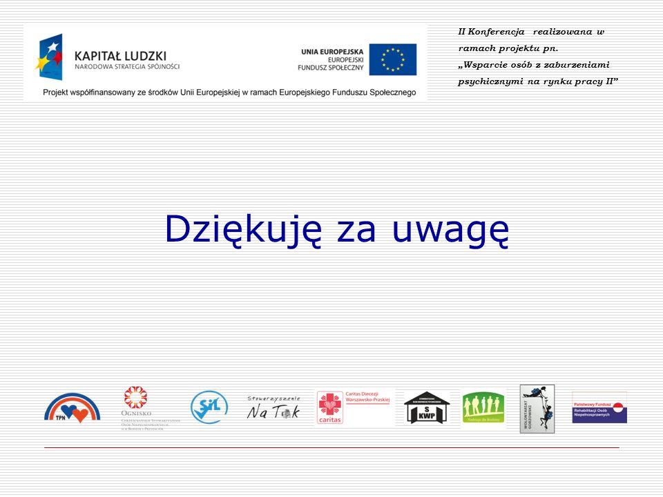 Dziękuję za uwagę II Konferencja realizowana w ramach projektu pn. Wsparcie osób z zaburzeniami psychicznymi na rynku pracy II