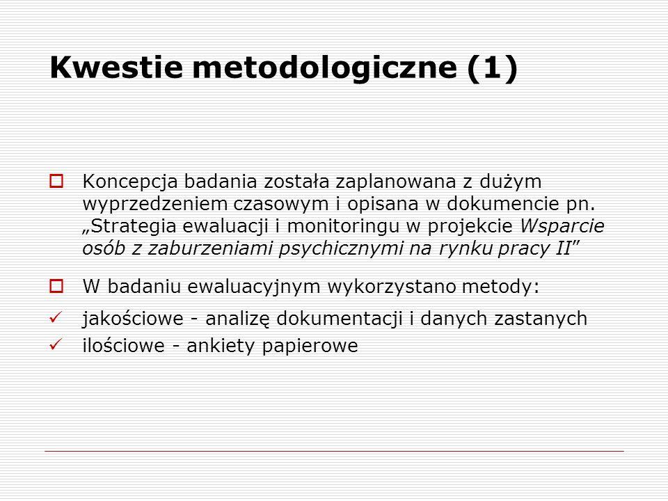 Kwestie metodologiczne (2) Analiza dokumentacji i danych zastanych obejmowała: - wniosek o dofinansowanie projektu - raporty z ewaluacji mid-term oraz ex-post I edycji projektu - raport podsumowujący I edycję projektu - raport z ewaluacji ex-ante ewaluowanego projektu - dane z monitoringu - protokoły z posiedzeń Komitetu Sterującego - informacje dotyczące wydatkowania środków - rejestr wypracowanych produktów - ankiety zarządcze i opracowane na ich podstawie raporty za okres VI-IX i X-XII 2011