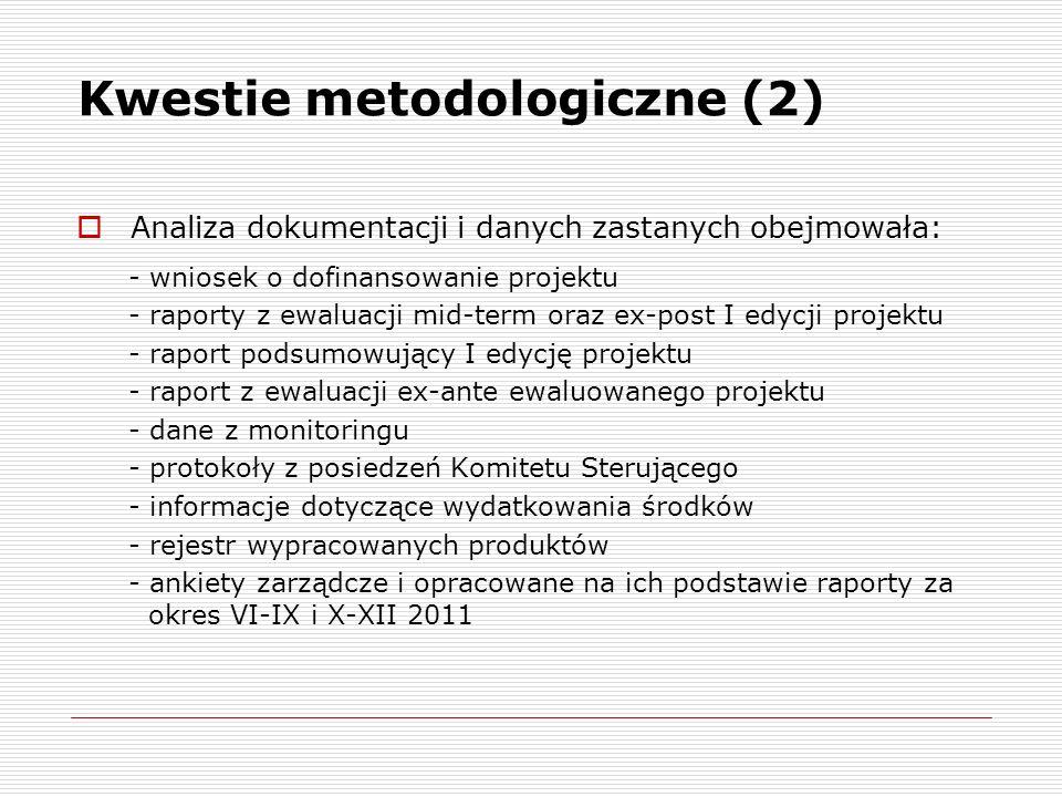 Kwestie metodologiczne (2) Analiza dokumentacji i danych zastanych obejmowała: - wniosek o dofinansowanie projektu - raporty z ewaluacji mid-term oraz