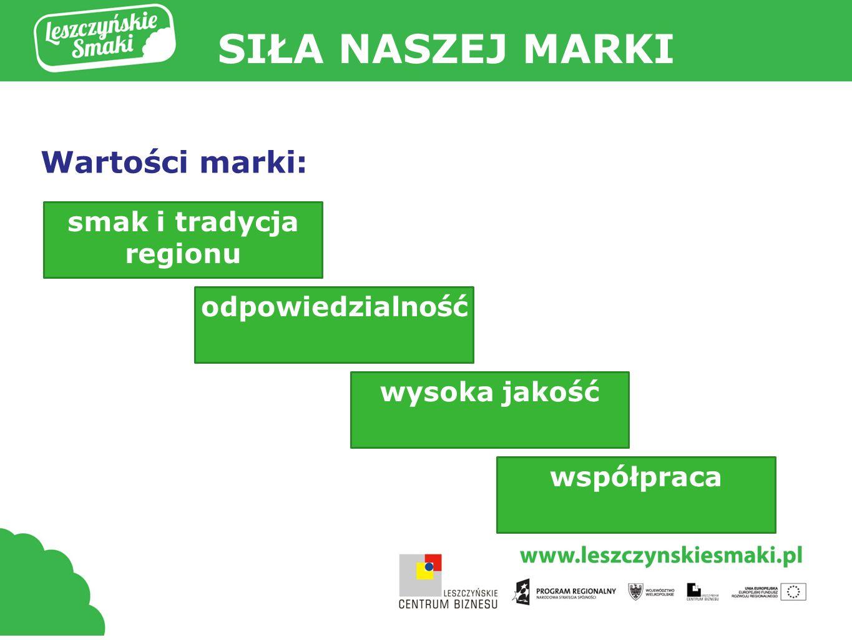SIŁA NASZEJ MARKI Wartości marki: smak i tradycja regionu odpowiedzialność wysoka jakość współpraca