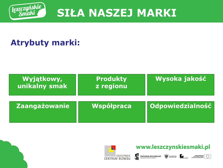 SIŁA NASZEJ MARKI Atrybuty marki: Wyjątkowy, unikalny smak Produkty z regionu Wysoka jakość WspółpracaZaangażowanieOdpowiedzialność
