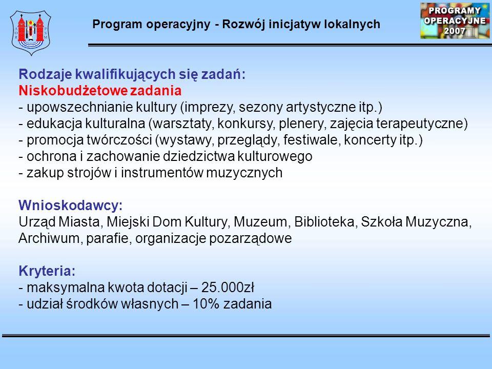 Program operacyjny - Rozwój inicjatyw lokalnych Rodzaje kwalifikujących się zadań: Niskobudżetowe zadania - upowszechnianie kultury (imprezy, sezony artystyczne itp.) - edukacja kulturalna (warsztaty, konkursy, plenery, zajęcia terapeutyczne) - promocja twórczości (wystawy, przeglądy, festiwale, koncerty itp.) - ochrona i zachowanie dziedzictwa kulturowego - zakup strojów i instrumentów muzycznych Wnioskodawcy: Urząd Miasta, Miejski Dom Kultury, Muzeum, Biblioteka, Szkoła Muzyczna, Archiwum, parafie, organizacje pozarządowe Kryteria: - maksymalna kwota dotacji – 25.000zł - udział środków własnych – 10% zadania