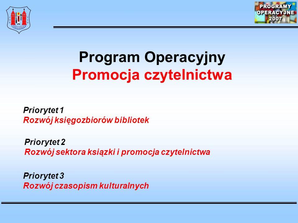 Program Operacyjny Promocja czytelnictwa Priorytet 1 Rozwój księgozbiorów bibliotek Priorytet 2 Rozwój sektora ksiązki i promocja czytelnictwa Priorytet 3 Rozwój czasopism kulturalnych