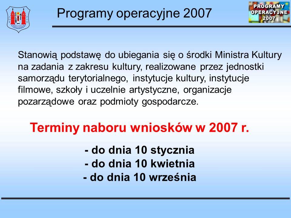 Program operacyjny Promocja twórczości Priorytet 1 Wspieranie wydarzeń artystycznych w Polsce Priorytet 2 Programy stypendialne