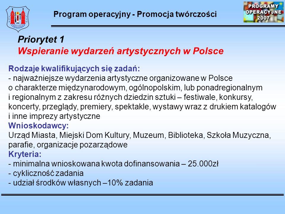 Młoda Polska – Program stypendialny Ministra Kultury Rodzaje kwalifikujących się zadań: - realizacja konkretnych projektów artystycznych (wystawy, katalogi, koncerty, nagrania płyt itp.) - zakup instrumentów lub innych przedmiotów niezbędnych do realizacji projektu stypendialnego Wnioskodawcy: - osoby fizyczne – twórcy, artyści, wykonawcy ze wszystkich dziedzin kultury Kryteria: - wnioski przyjmowane są do 15 października każdego roku na rok następny - posiadanie minimum dwóch rekomendacji od uznanych twórców Priorytet 2 Programy stypendialne Program operacyjny - Promocja twórczości