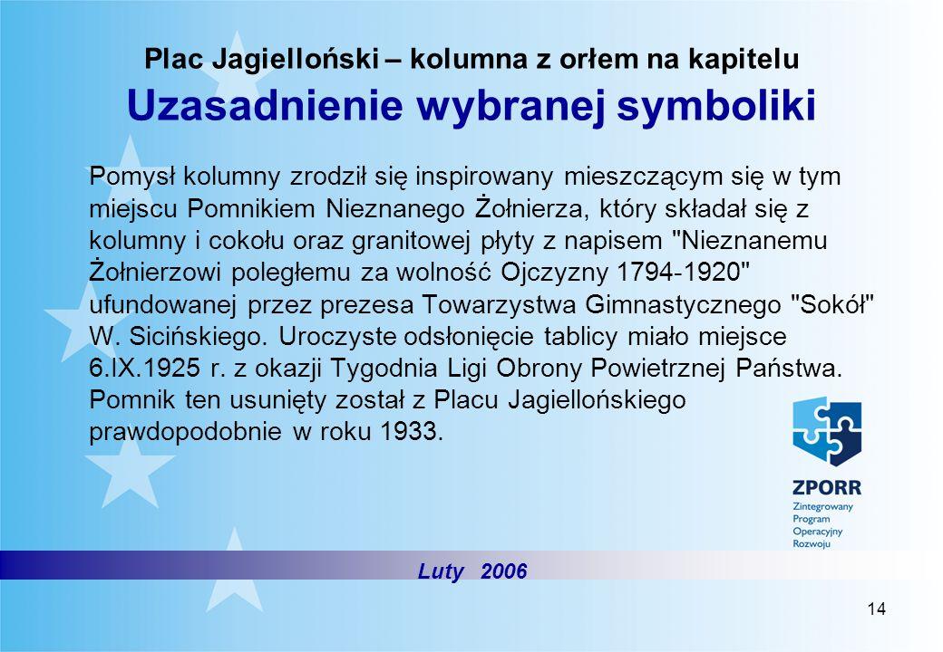 14 Plac Jagielloński – kolumna z orłem na kapitelu Uzasadnienie wybranej symboliki Pomysł kolumny zrodził się inspirowany mieszczącym się w tym miejsc
