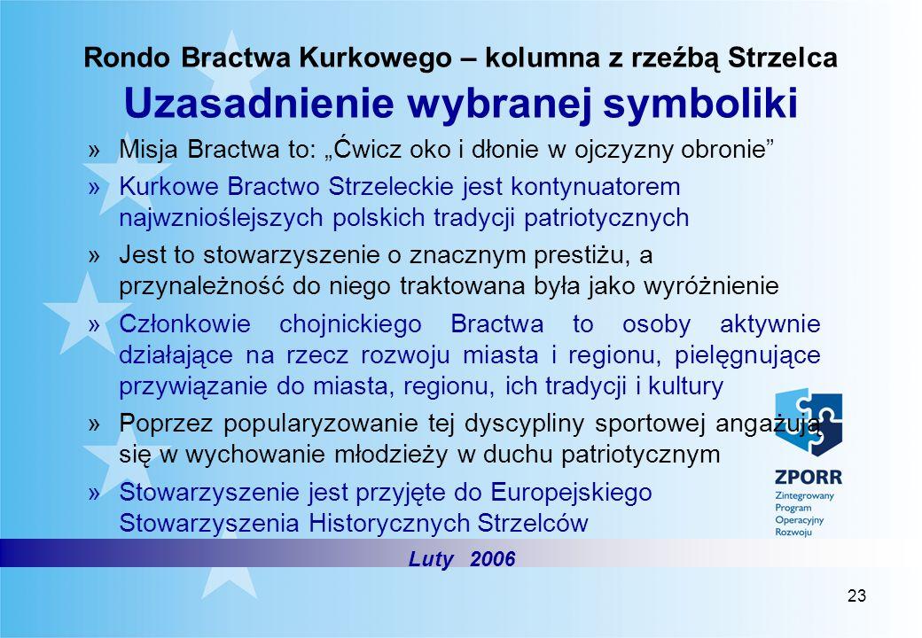 23 Rondo Bractwa Kurkowego – kolumna z rzeźbą Strzelca Uzasadnienie wybranej symboliki »Misja Bractwa to: Ćwicz oko i dłonie w ojczyzny obronie »Kurko
