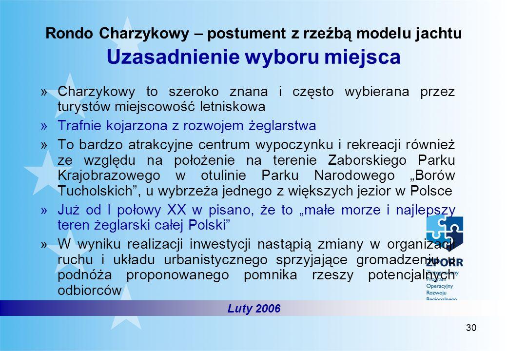 30 Rondo Charzykowy – postument z rzeźbą modelu jachtu Uzasadnienie wyboru miejsca »Charzykowy to szeroko znana i często wybierana przez turystów miej