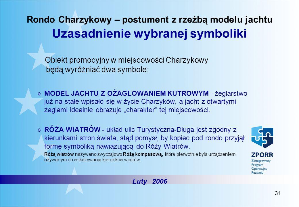 31 Rondo Charzykowy – postument z rzeźbą modelu jachtu Uzasadnienie wybranej symboliki Luty 2006 Obiekt promocyjny w miejscowości Charzykowy będą wyró