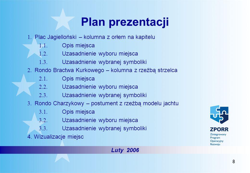 8 Plan prezentacji Styczeń 2006 Luty 2006 1. Plac Jagielloński – kolumna z orłem na kapitelu 1.1. Opis miejsca 1.2. Uzasadnienie wyboru miejsca 1.3. U