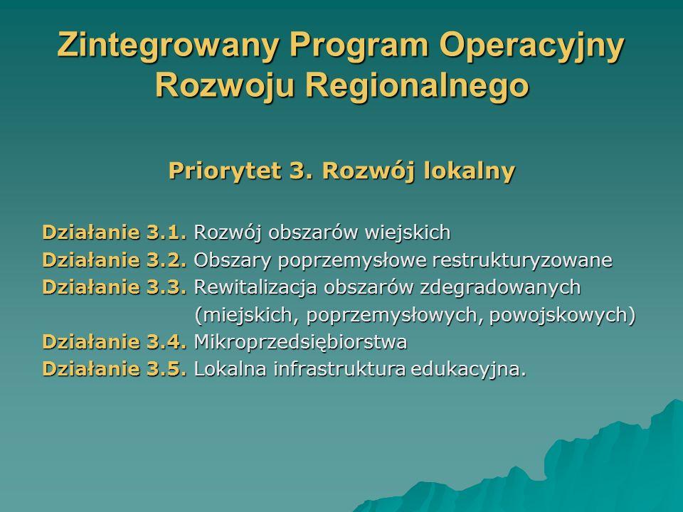 Zintegrowany Program Operacyjny Rozwoju Regionalnego Priorytet 3.