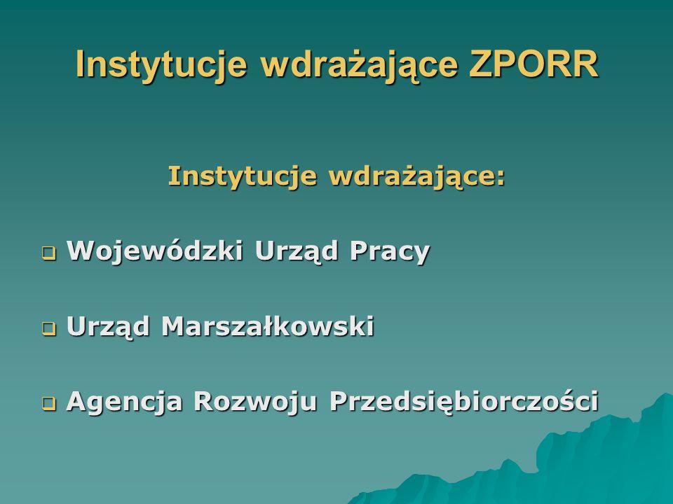 Instytucje wdrażające ZPORR Instytucje wdrażające: Wojewódzki Urząd Pracy Wojewódzki Urząd Pracy Urząd Marszałkowski Urząd Marszałkowski Agencja Rozwoju Przedsiębiorczości Agencja Rozwoju Przedsiębiorczości