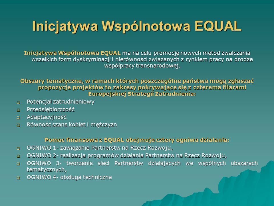 Inicjatywa Wspólnotowa EQUAL Inicjatywa Wspólnotowa EQUAL ma na celu promocję nowych metod zwalczania wszelkich form dyskryminacji i nierówności związanych z rynkiem pracy na drodze współpracy transnarodowej.