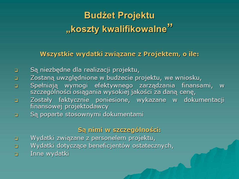 Budżet Projektu koszty kwalifikowalne Budżet Projektu koszty kwalifikowalne Wszystkie wydatki związane z Projektem, o ile: Są niezbędne dla realizacji projektu, Są niezbędne dla realizacji projektu, Zostaną uwzględnione w budżecie projektu, we wniosku, Zostaną uwzględnione w budżecie projektu, we wniosku, Spełniają wymogi efektywnego zarządzania finansami, w szczególności osiągania wysokiej jakości za daną cenę, Spełniają wymogi efektywnego zarządzania finansami, w szczególności osiągania wysokiej jakości za daną cenę, Zostały faktycznie poniesione, wykazane w dokumentacji finansowej projektodawcy Zostały faktycznie poniesione, wykazane w dokumentacji finansowej projektodawcy Są poparte stosownymi dokumentami Są poparte stosownymi dokumentami Są nimi w szczególności: Wydatki związane z personelem projektu, Wydatki związane z personelem projektu, Wydatki dotyczące beneficjentów ostatecznych, Wydatki dotyczące beneficjentów ostatecznych, Inne wydatki Inne wydatki