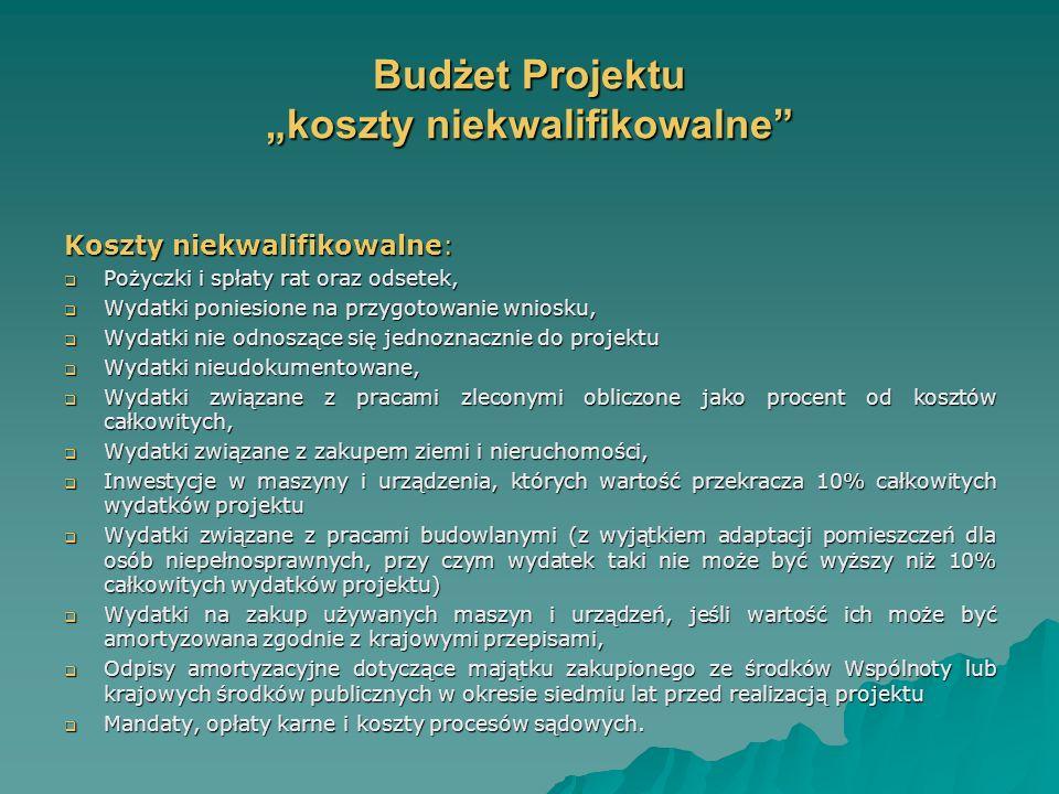 Budżet Projektu koszty niekwalifikowalne Koszty niekwalifikowalne: Pożyczki i spłaty rat oraz odsetek, Pożyczki i spłaty rat oraz odsetek, Wydatki poniesione na przygotowanie wniosku, Wydatki poniesione na przygotowanie wniosku, Wydatki nie odnoszące się jednoznacznie do projektu Wydatki nie odnoszące się jednoznacznie do projektu Wydatki nieudokumentowane, Wydatki nieudokumentowane, Wydatki związane z pracami zleconymi obliczone jako procent od kosztów całkowitych, Wydatki związane z pracami zleconymi obliczone jako procent od kosztów całkowitych, Wydatki związane z zakupem ziemi i nieruchomości, Wydatki związane z zakupem ziemi i nieruchomości, Inwestycje w maszyny i urządzenia, których wartość przekracza 10% całkowitych wydatków projektu Inwestycje w maszyny i urządzenia, których wartość przekracza 10% całkowitych wydatków projektu Wydatki związane z pracami budowlanymi (z wyjątkiem adaptacji pomieszczeń dla osób niepełnosprawnych, przy czym wydatek taki nie może być wyższy niż 10% całkowitych wydatków projektu) Wydatki związane z pracami budowlanymi (z wyjątkiem adaptacji pomieszczeń dla osób niepełnosprawnych, przy czym wydatek taki nie może być wyższy niż 10% całkowitych wydatków projektu) Wydatki na zakup używanych maszyn i urządzeń, jeśli wartość ich może być amortyzowana zgodnie z krajowymi przepisami, Wydatki na zakup używanych maszyn i urządzeń, jeśli wartość ich może być amortyzowana zgodnie z krajowymi przepisami, Odpisy amortyzacyjne dotyczące majątku zakupionego ze środków Wspólnoty lub krajowych środków publicznych w okresie siedmiu lat przed realizacją projektu Odpisy amortyzacyjne dotyczące majątku zakupionego ze środków Wspólnoty lub krajowych środków publicznych w okresie siedmiu lat przed realizacją projektu Mandaty, opłaty karne i koszty procesów sądowych.