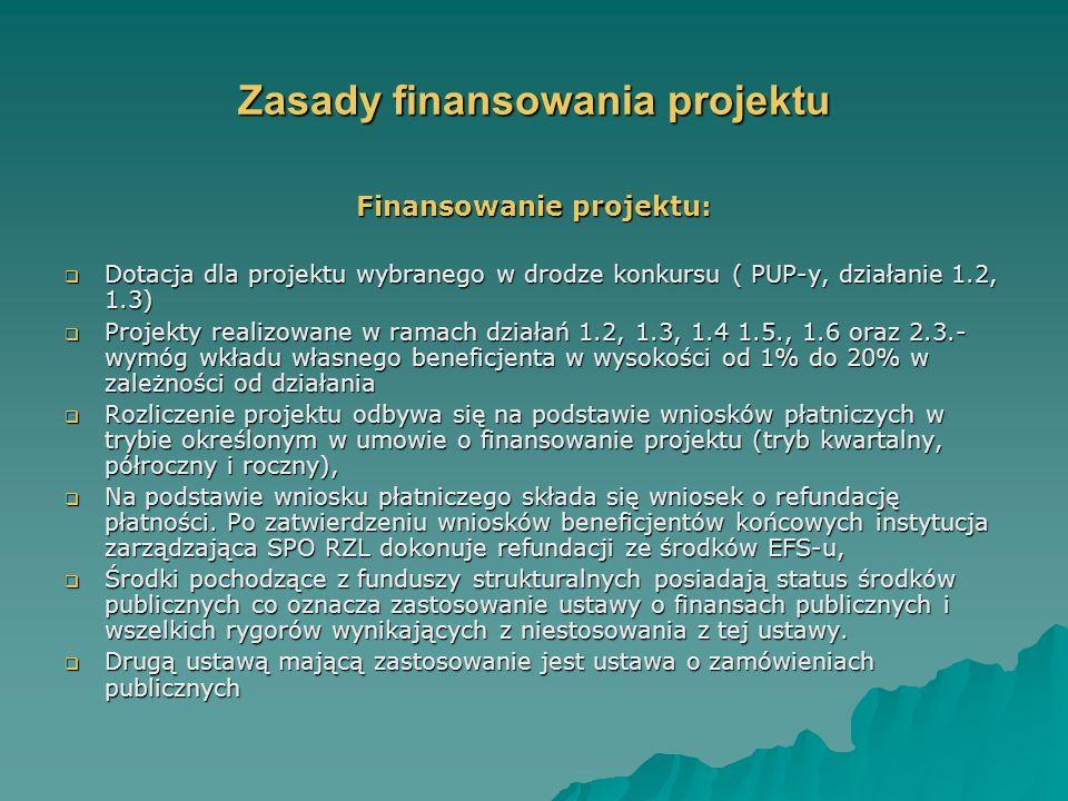 Zasady finansowania projektu Finansowanie projektu: Dotacja dla projektu wybranego w drodze konkursu ( PUP-y, działanie 1.2, 1.3) Dotacja dla projektu wybranego w drodze konkursu ( PUP-y, działanie 1.2, 1.3) Projekty realizowane w ramach działań 1.2, 1.3, 1.4 1.5., 1.6 oraz 2.3.- wymóg wkładu własnego beneficjenta w wysokości od 1% do 20% w zależności od działania Projekty realizowane w ramach działań 1.2, 1.3, 1.4 1.5., 1.6 oraz 2.3.- wymóg wkładu własnego beneficjenta w wysokości od 1% do 20% w zależności od działania Rozliczenie projektu odbywa się na podstawie wniosków płatniczych w trybie określonym w umowie o finansowanie projektu (tryb kwartalny, półroczny i roczny), Rozliczenie projektu odbywa się na podstawie wniosków płatniczych w trybie określonym w umowie o finansowanie projektu (tryb kwartalny, półroczny i roczny), Na podstawie wniosku płatniczego składa się wniosek o refundację płatności.