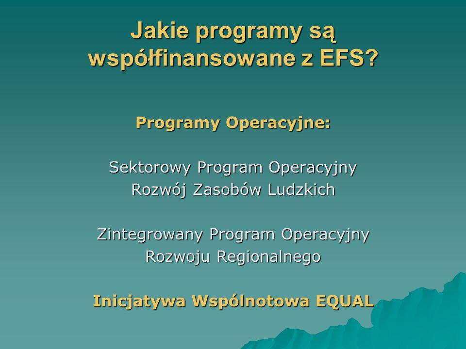 Jakie programy są współfinansowane z EFS.