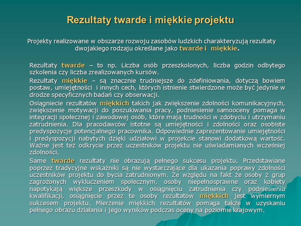 Rezultaty twarde i miękkie projektu Projekty realizowane w obszarze rozwoju zasobów ludzkich charakteryzują rezultaty dwojakiego rodzaju określane jako twarde i miękkie.