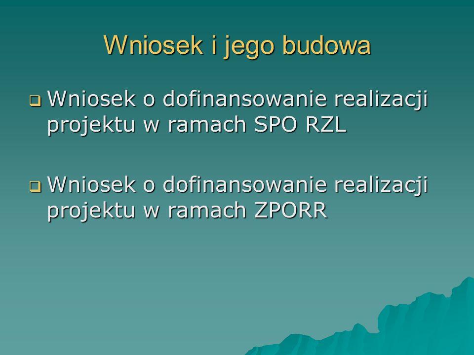 Wniosek i jego budowa Wniosek o dofinansowanie realizacji projektu w ramach SPO RZL Wniosek o dofinansowanie realizacji projektu w ramach SPO RZL Wniosek o dofinansowanie realizacji projektu w ramach ZPORR Wniosek o dofinansowanie realizacji projektu w ramach ZPORR