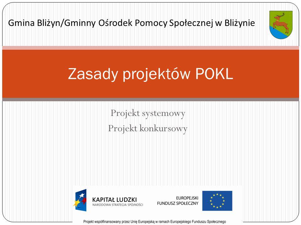 Projekt systemowy Projekt konkursowy Zasady projektów POKL Gmina Bliżyn/Gminny Ośrodek Pomocy Społecznej w Bliżynie