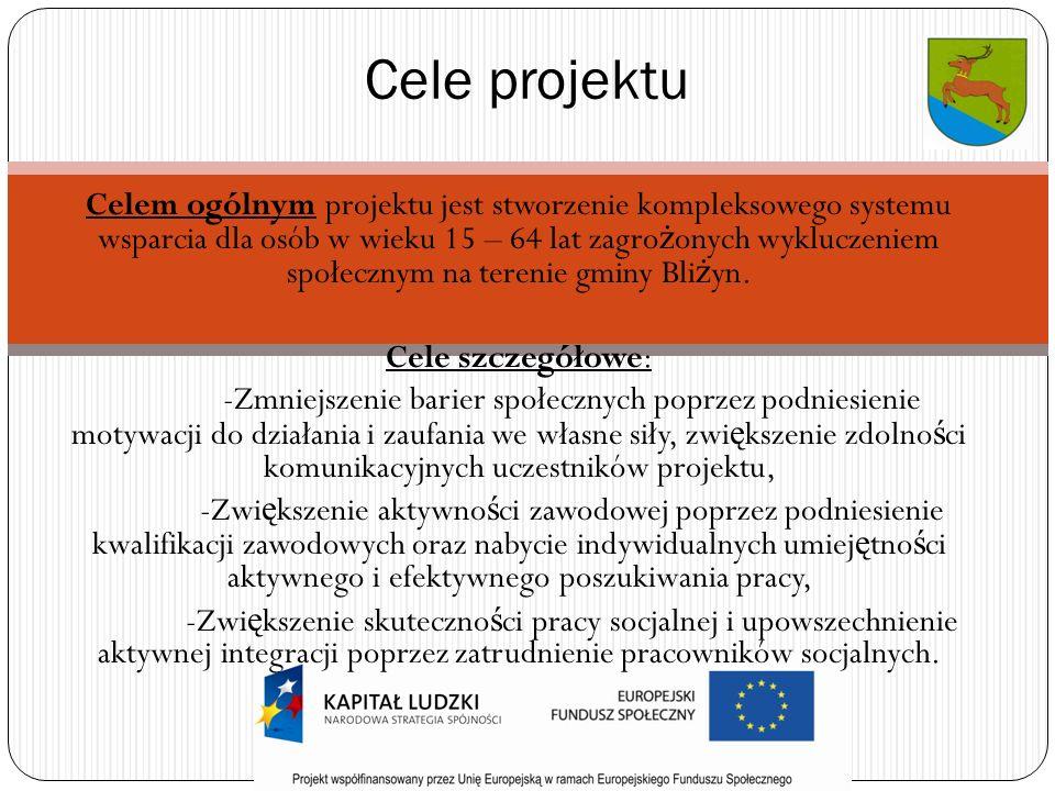 Celem ogólnym projektu jest stworzenie kompleksowego systemu wsparcia dla osób w wieku 15 – 64 lat zagro ż onych wykluczeniem społecznym na terenie gminy Bli ż yn.