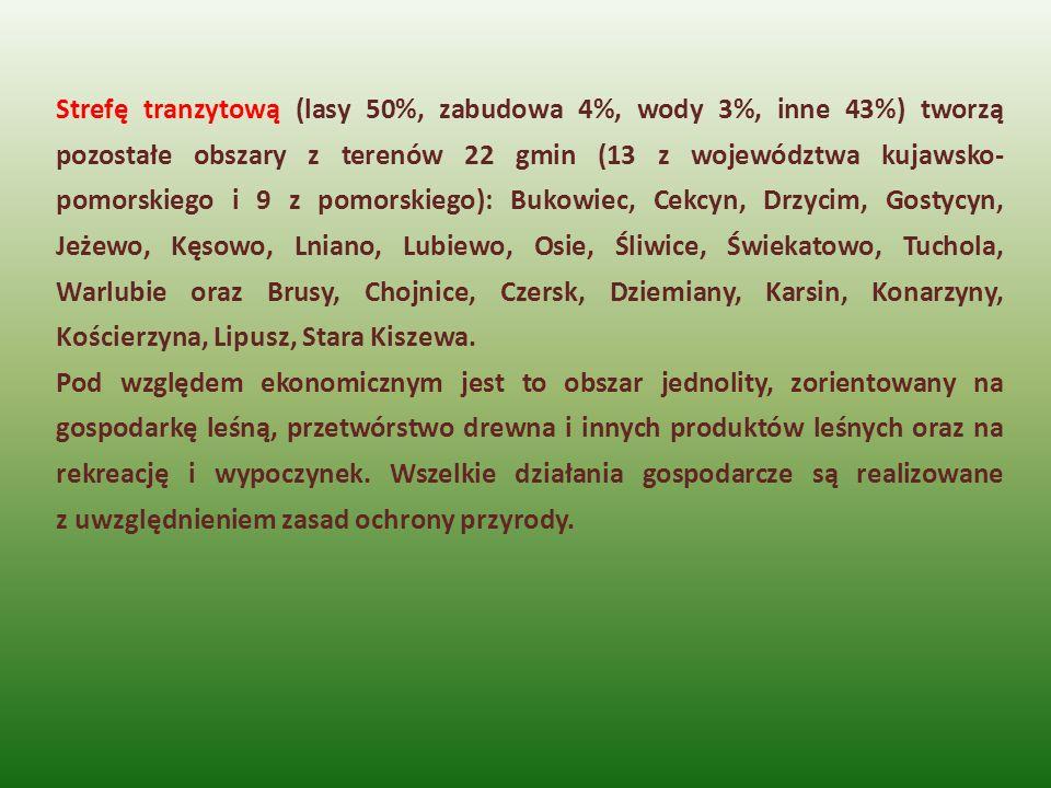 Strefę tranzytową (lasy 50%, zabudowa 4%, wody 3%, inne 43%) tworzą pozostałe obszary z terenów 22 gmin (13 z województwa kujawsko- pomorskiego i 9 z