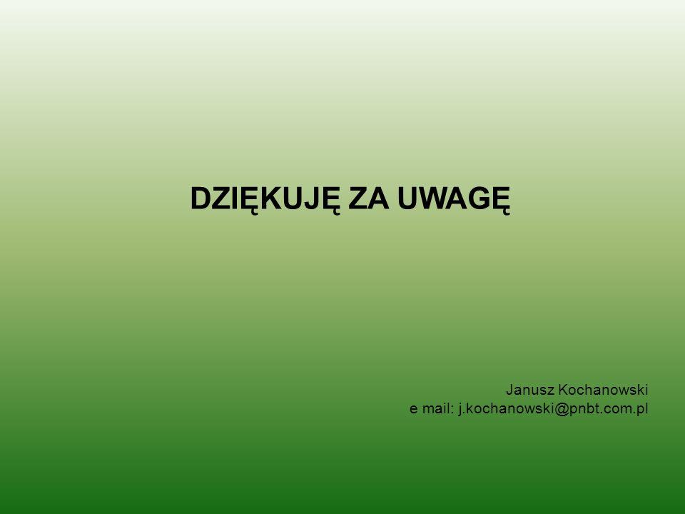 DZIĘKUJĘ ZA UWAGĘ Janusz Kochanowski e mail: j.kochanowski@pnbt.com.pl