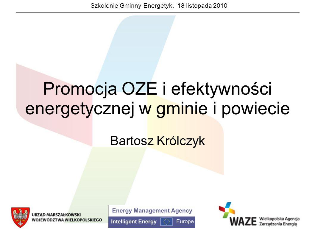 Szkolenie Gminny Energetyk, 18 listopada 2010 Promocja OZE i efektywności energetycznej Promocja wspólnego dobra musi się odbywać na dwóch płaszczyznach: Informacyjno-edukacyjnej Nauczanie o ograniczonym charakterze wspólnego dobra Dlaczego klimat się zmienia.