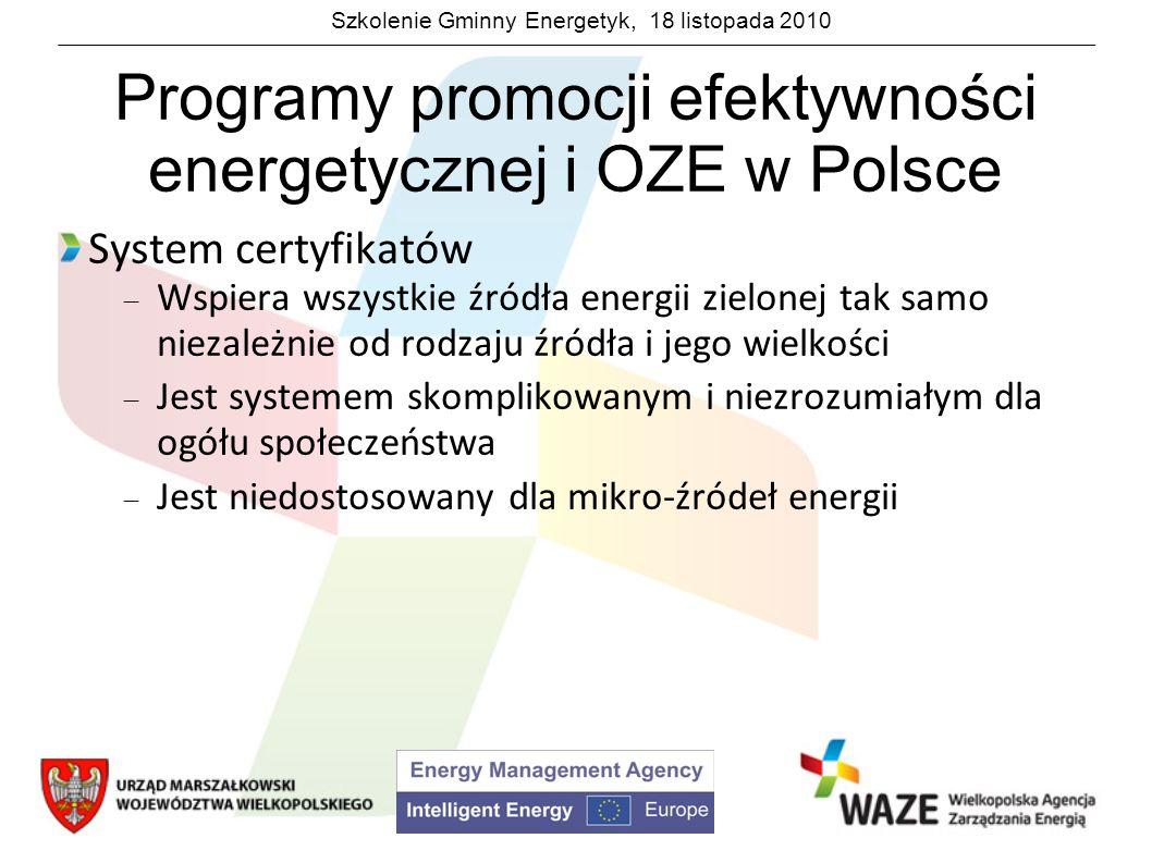 Szkolenie Gminny Energetyk, 18 listopada 2010 Programy promocji efektywności energetycznej i OZE w Polsce System certyfikatów Wspiera wszystkie źródła