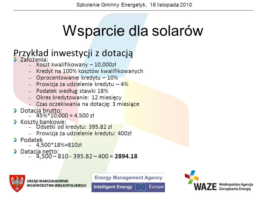Szkolenie Gminny Energetyk, 18 listopada 2010 Wsparcie dla solarów Przykład inwestycji z dotacją Założenia: Koszt kwalifikowany – 10,000zł Kredyt na 1