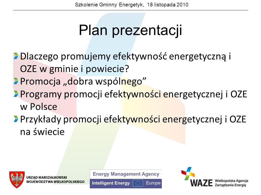 Szkolenie Gminny Energetyk, 18 listopada 2010 Programy promocji efektywności energetycznej i OZE w Polsce System certyfikatów Wspiera wszystkie źródła energii zielonej tak samo niezależnie od rodzaju źródła i jego wielkości Jest systemem skomplikowanym i niezrozumiałym dla ogółu społeczeństwa Jest niedostosowany dla mikro-źródeł energii