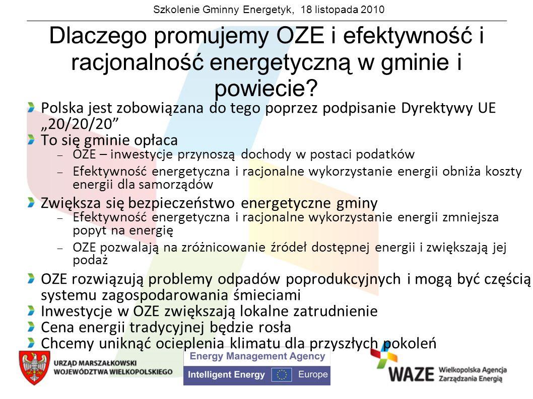 Szkolenie Gminny Energetyk, 18 listopada 2010 Dlaczego promujemy OZE i efektywność i racjonalność energetyczną w gminie i powiecie? Polska jest zobowi
