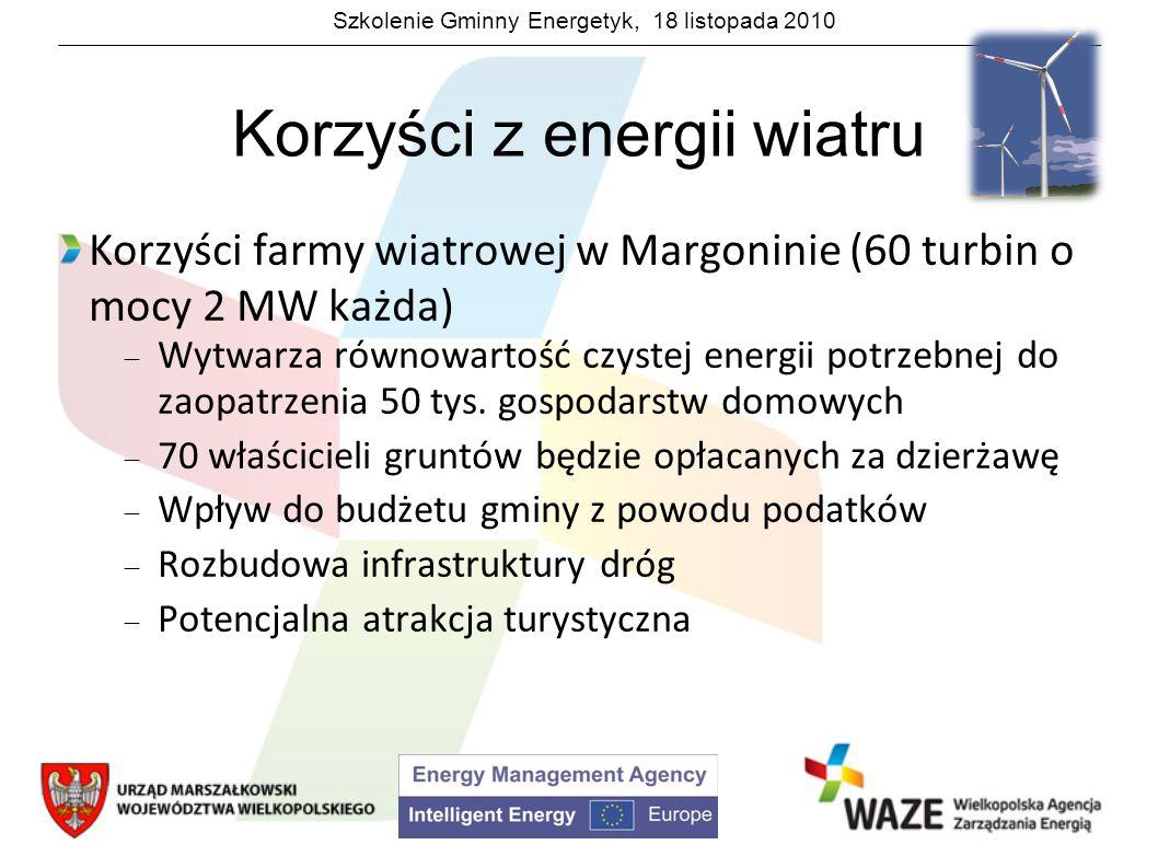 Szkolenie Gminny Energetyk, 18 listopada 2010 Korzyści z energii wiatru Korzyści farmy wiatrowej w Margoninie (60 turbin o mocy 2 MW każda) Wytwarza r