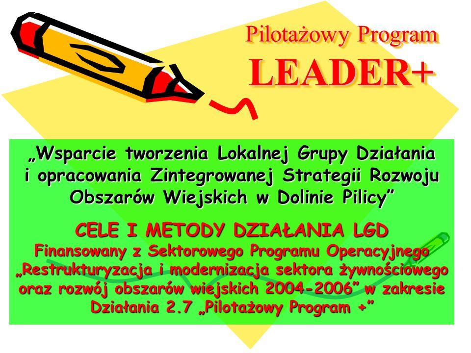 Pilotażowy Program LEADER+ Wsparcie tworzenia Lokalnej Grupy Działania i opracowania Zintegrowanej Strategii Rozwoju Obszarów Wiejskich w Dolinie Pilicy CELE I METODY DZIAŁANIA LGD Finansowany z Sektorowego Programu Operacyjnego Restrukturyzacja i modernizacja sektora żywnościowego oraz rozwój obszarów wiejskich 2004-2006 w zakresie Działania 2.7 Pilotażowy Program +