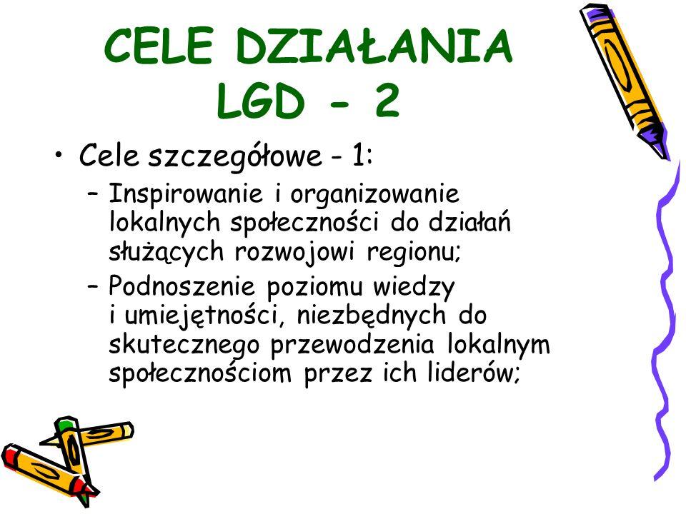 CELE DZIAŁANIA LGD - 2 Cele szczegółowe - 1: –Inspirowanie i organizowanie lokalnych społeczności do działań służących rozwojowi regionu; –Podnoszenie poziomu wiedzy i umiejętności, niezbędnych do skutecznego przewodzenia lokalnym społecznościom przez ich liderów;