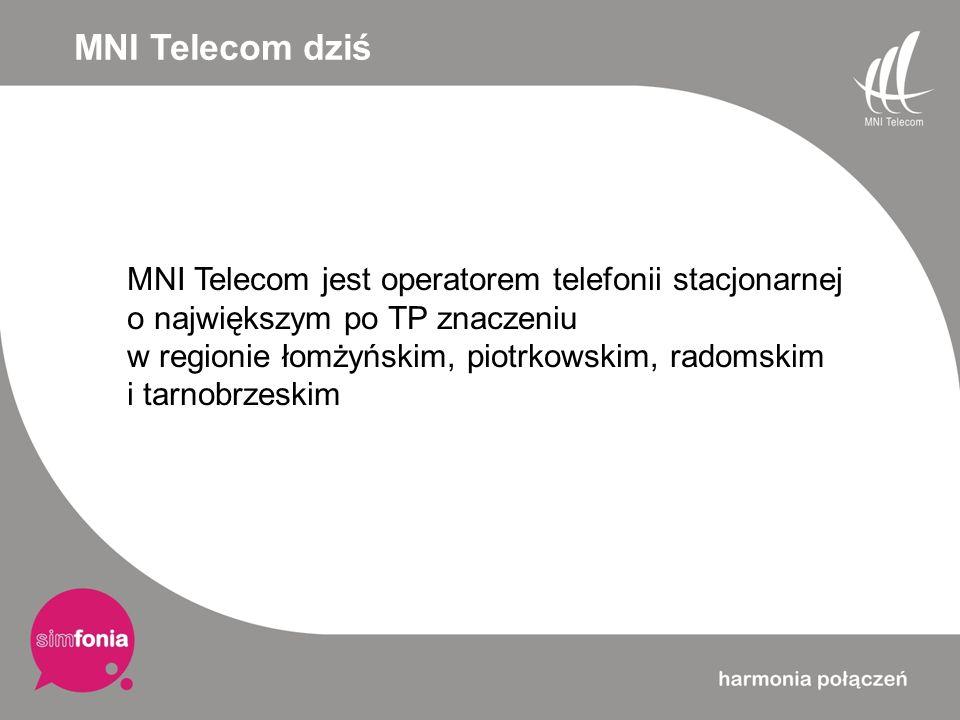 MNI Telecom dziś MNI Telecom jest operatorem telefonii stacjonarnej o największym po TP znaczeniu w regionie łomżyńskim, piotrkowskim, radomskim i tar