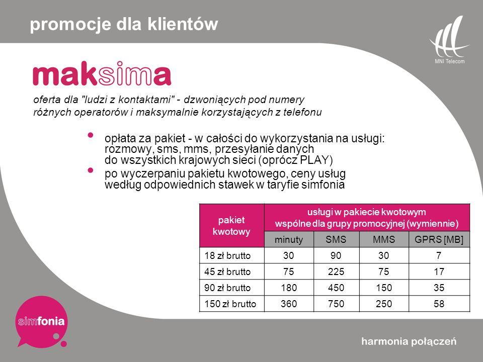 opłata za pakiet - w całości do wykorzystania na usługi: rozmowy, sms, mms, przesyłanie danych do wszystkich krajowych sieci (oprócz PLAY) po wyczerpa