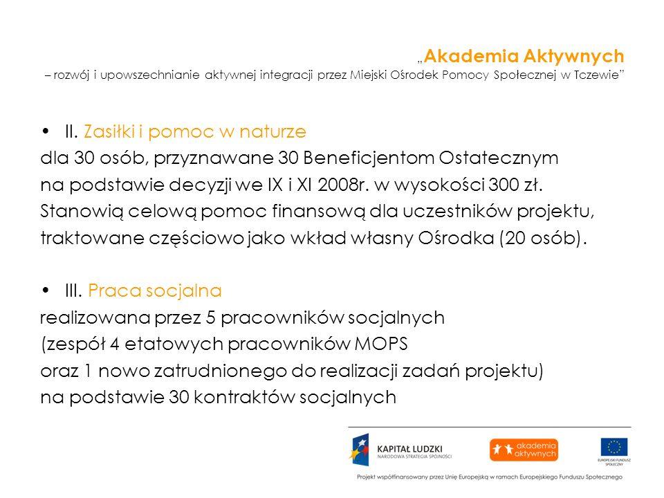 Akademia Aktywnych – rozwój i upowszechnianie aktywnej integracji przez Miejski Ośrodek Pomocy Społecznej w Tczewie II. Zasiłki i pomoc w naturze dla