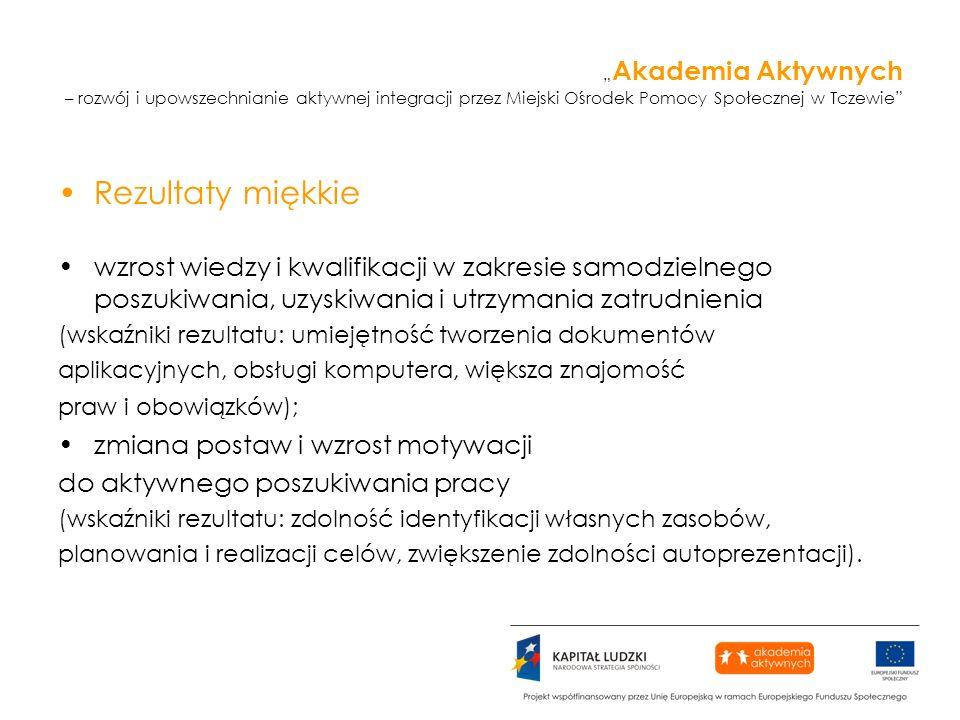 Akademia Aktywnych – rozwój i upowszechnianie aktywnej integracji przez Miejski Ośrodek Pomocy Społecznej w Tczewie Rezultaty miękkie wzrost wiedzy i