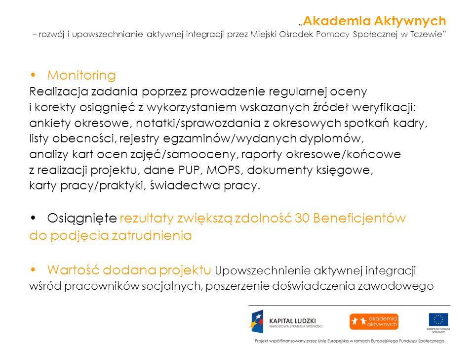 Akademia Aktywnych – rozwój i upowszechnianie aktywnej integracji przez Miejski Ośrodek Pomocy Społecznej w Tczewie Monitoring Realizacja zadania popr